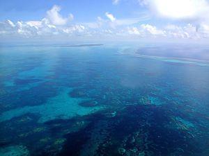 Vista aérea de los arrecifes del Banco Chinchorro